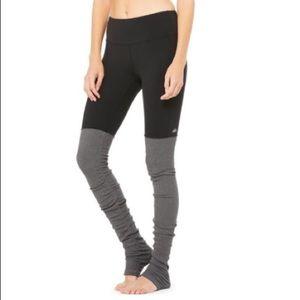 ALO Goddess Legging Black Gray Ribbed Sz Large